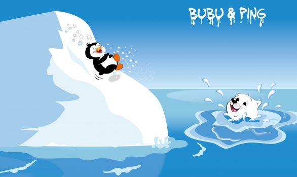 Bubu & Ping beim Eisberg rutschen