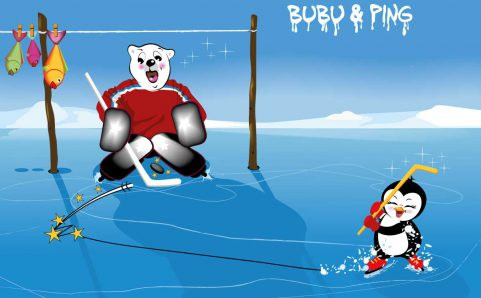 Bubu & Ping beim Eishockey